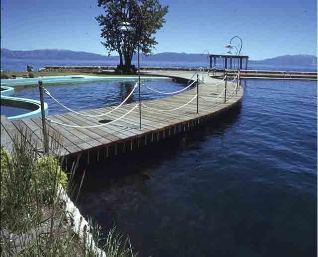 Image showing wooden dock where character Fredo left to go fishing in the Godfather II, and two freshwater pools there